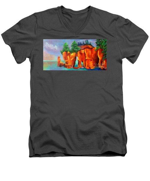 Red Fjord Men's V-Neck T-Shirt by Elizabeth Fontaine-Barr
