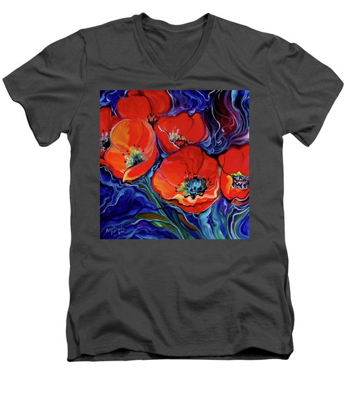 Red Floral Abstract Men's V-Neck T-Shirt by Marcia Baldwin