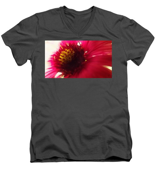 Red Flower Abstract Men's V-Neck T-Shirt