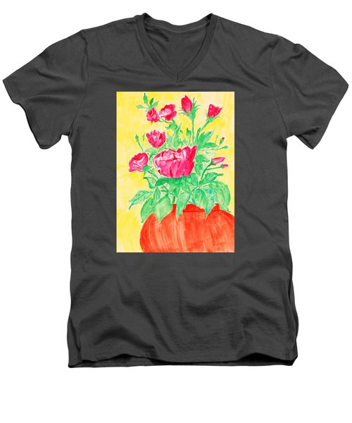 Red Flowers In A Brown Vase Men's V-Neck T-Shirt by Jose Rojas