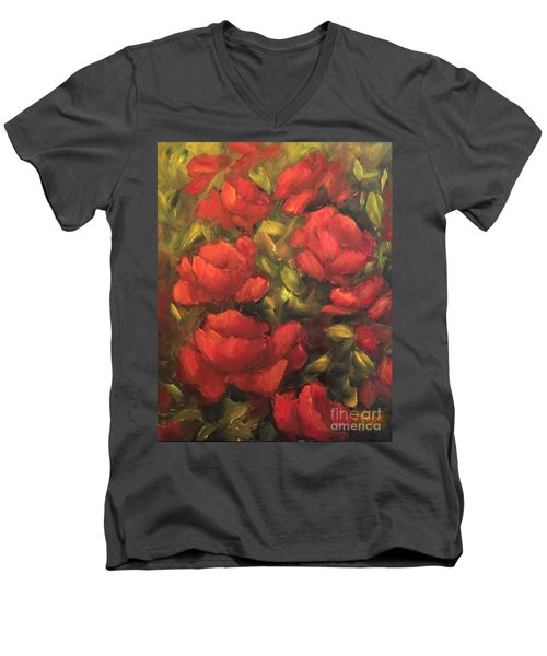 Men's V-Neck T-Shirt featuring the painting Red Flowers by Inese Poga