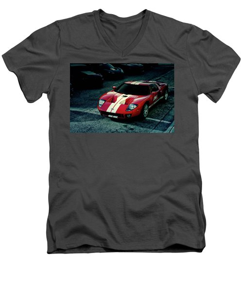 Men's V-Neck T-Shirt featuring the photograph Red Ford Gt by Joel Witmeyer