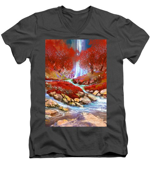 Red Forest Men's V-Neck T-Shirt