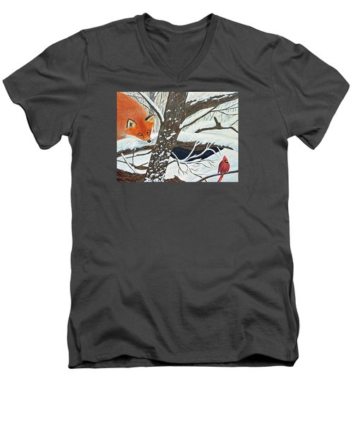 Red Fox And Cardinal Men's V-Neck T-Shirt