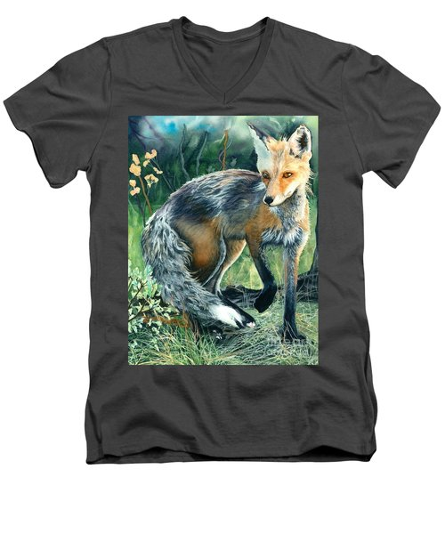 Red Fox- Caught In The Moment Men's V-Neck T-Shirt by Barbara Jewell