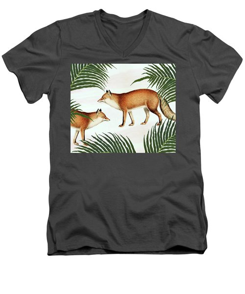 Red Fox Pair Men's V-Neck T-Shirt by Uma Gokhale