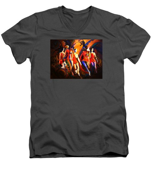 Men's V-Neck T-Shirt featuring the painting Red by Georg Douglas