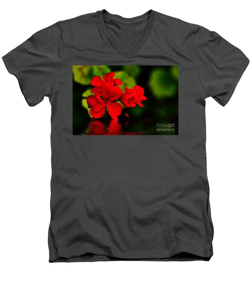 Red Geranium On Water Men's V-Neck T-Shirt