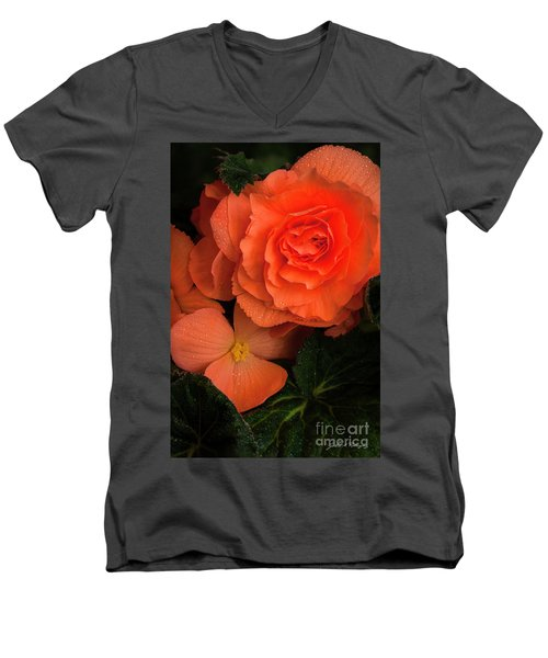 Red Giant Begonia Ruffle Form Men's V-Neck T-Shirt