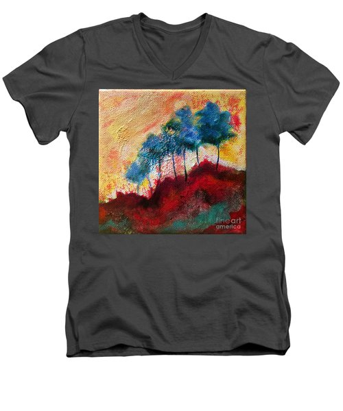 Red Glade Men's V-Neck T-Shirt by Elizabeth Fontaine-Barr