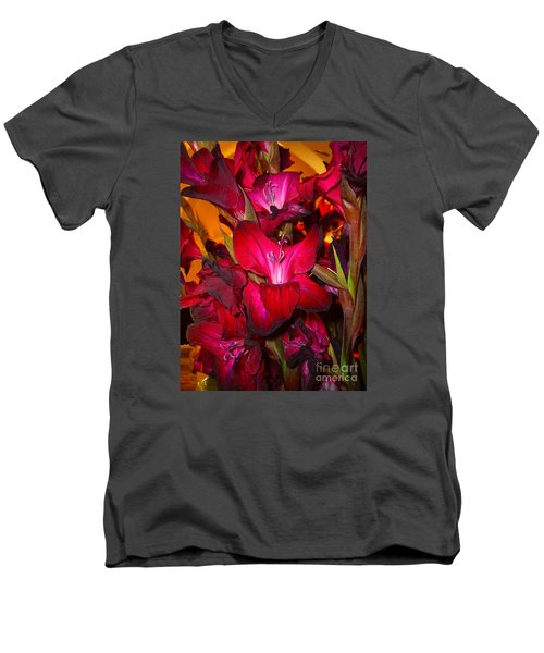 Men's V-Neck T-Shirt featuring the photograph Red Gladiolus Macro Photograph by Merton Allen