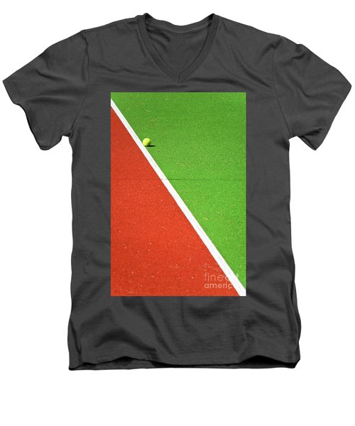 Red Green White Line And Tennis Ball Men's V-Neck T-Shirt by Silvia Ganora