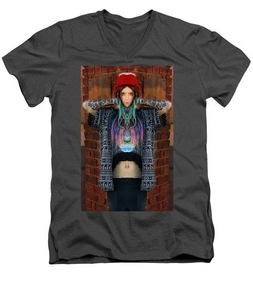 Red Hat Grunge Men's V-Neck T-Shirt by Pamela Patch