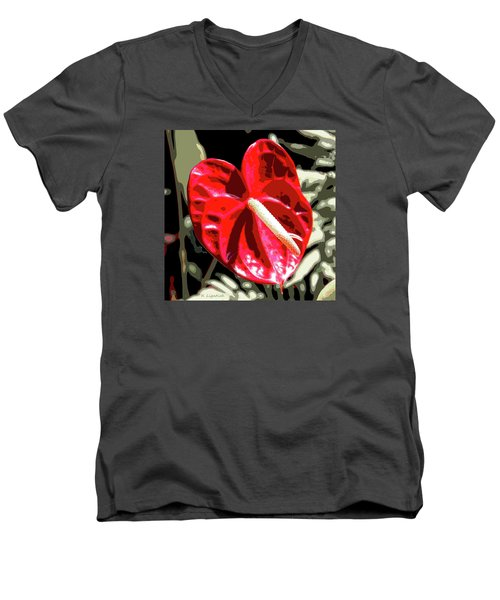 Red Heart Men's V-Neck T-Shirt