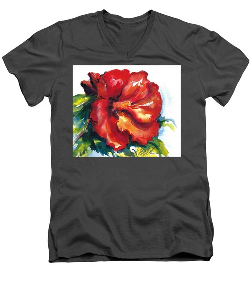 Fireball Red Hibiscus Men's V-Neck T-Shirt