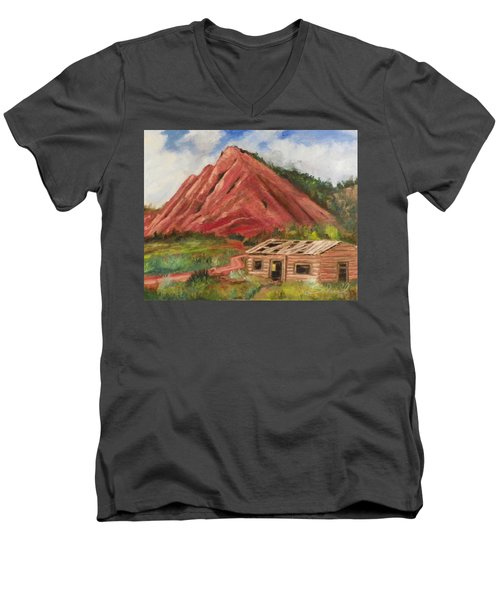 Red Hill And Cabin Men's V-Neck T-Shirt by Sherril Porter