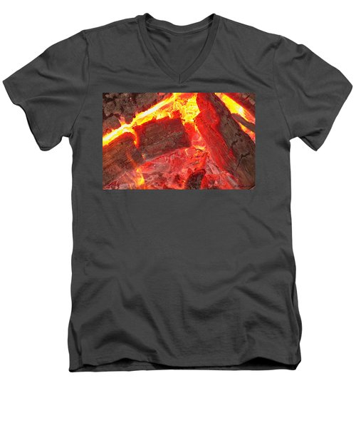 Men's V-Neck T-Shirt featuring the photograph Red Hot by Betty Northcutt