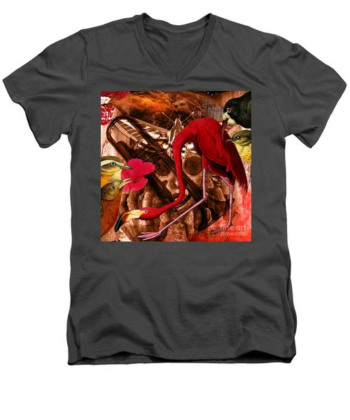Red Hot Soul Music Men's V-Neck T-Shirt by Joseph Mosley
