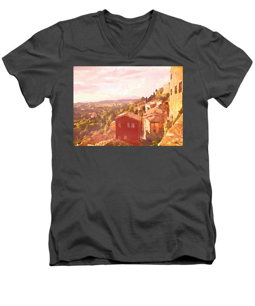 Red House On A Hill Men's V-Neck T-Shirt