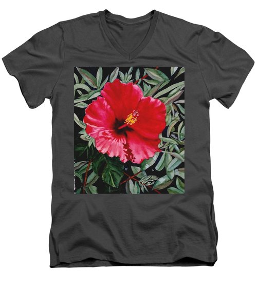 Red Hybiscus Men's V-Neck T-Shirt