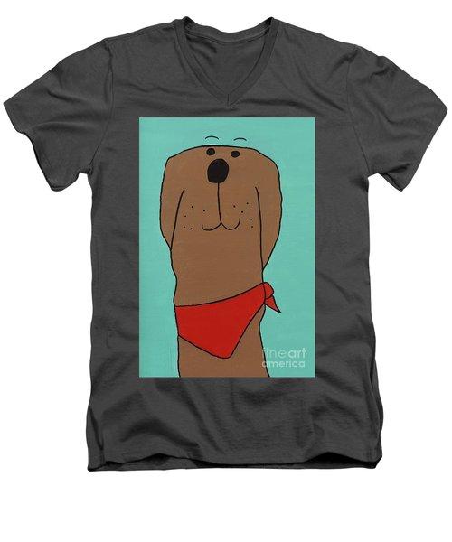 Red Kerchief Men's V-Neck T-Shirt by Sean Brushingham