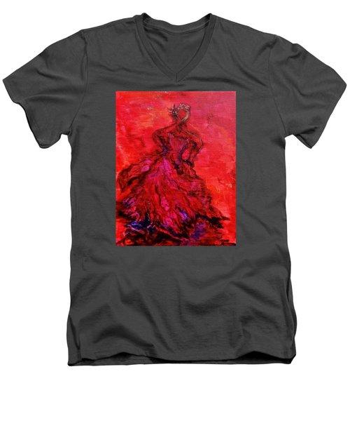 Red Lady Men's V-Neck T-Shirt