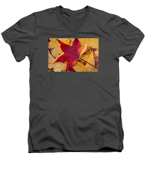 Men's V-Neck T-Shirt featuring the photograph Red Leaf by Chevy Fleet
