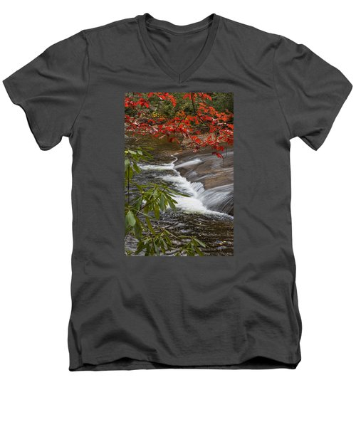 Red Leaf Falls Men's V-Neck T-Shirt