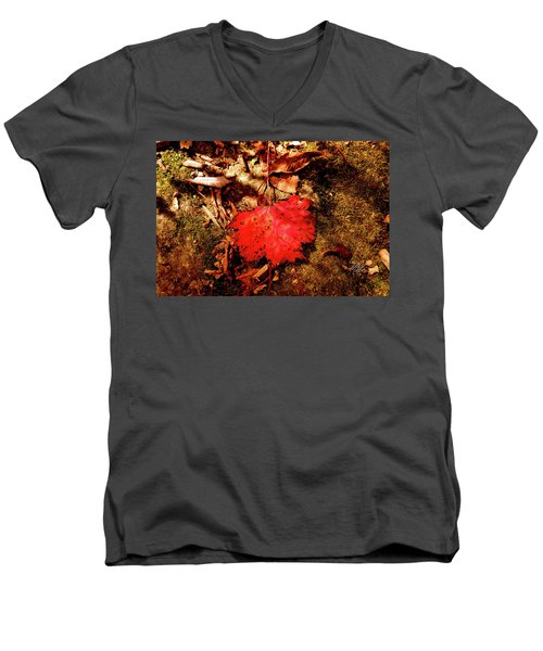 Men's V-Neck T-Shirt featuring the photograph Red Leaf by Meta Gatschenberger
