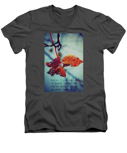 Red Leaf Men's V-Neck T-Shirt by Artists With Autism Inc