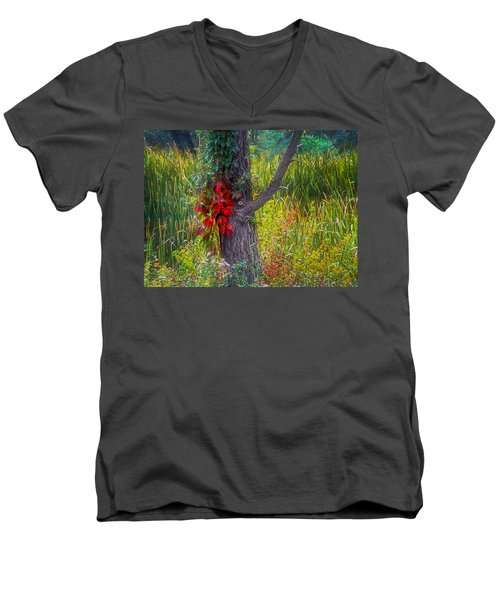 Red Leaves And Vines On Tree In Forest Of Reeds Men's V-Neck T-Shirt
