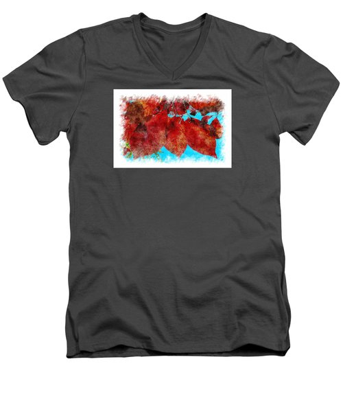 Men's V-Neck T-Shirt featuring the photograph Red Leaves by Jean Bernard Roussilhe