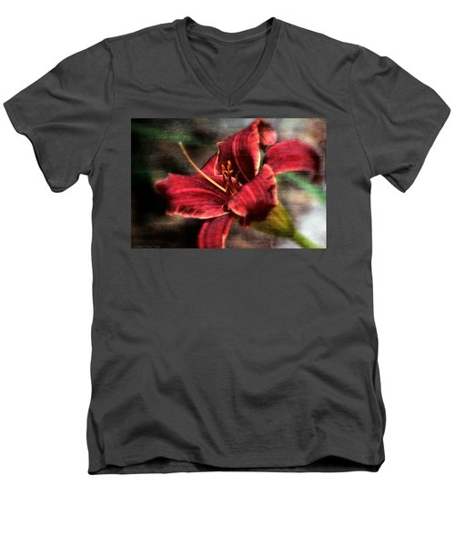 Men's V-Neck T-Shirt featuring the photograph Red Lilly by Michaela Preston
