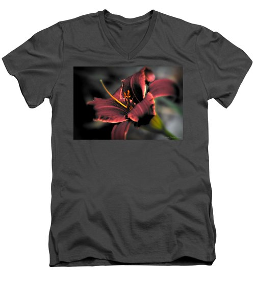 Men's V-Neck T-Shirt featuring the photograph Red Lilly2 by Michaela Preston