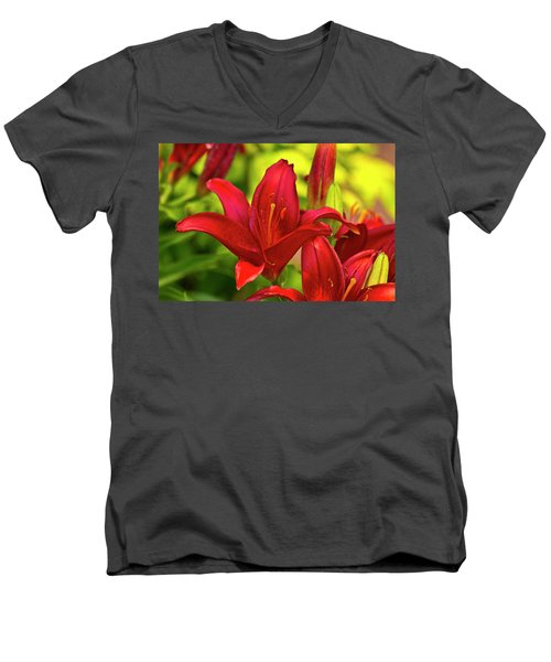 Men's V-Neck T-Shirt featuring the photograph Red Lily by Bill Barber