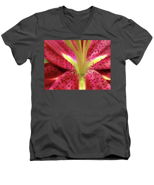 Red Lily Closeup Men's V-Neck T-Shirt