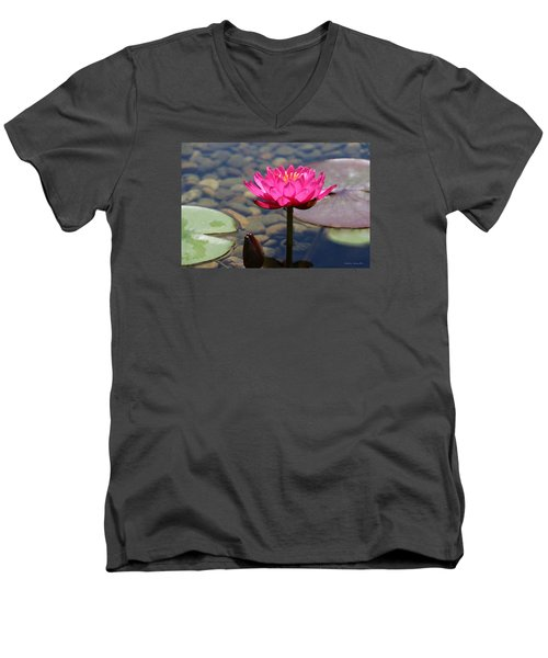 Men's V-Neck T-Shirt featuring the photograph Red Lotus by Debra     Vatalaro