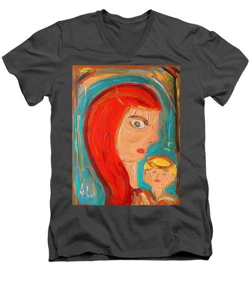 Men's V-Neck T-Shirt featuring the painting Red Madonna by Mary Carol Williams