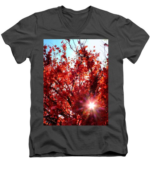 Red Maple Burst Men's V-Neck T-Shirt by Wendy McKennon