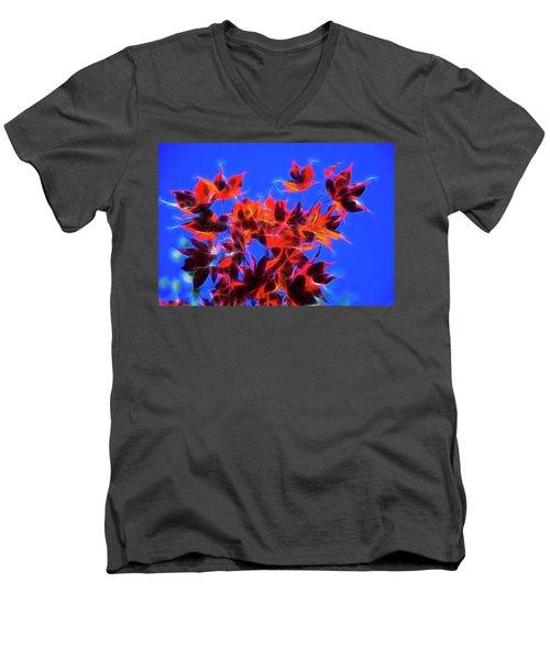 Red Maple Leaves Men's V-Neck T-Shirt by Yulia Kazansky