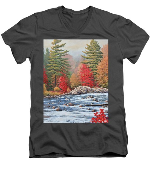 Red Maples, White Water Men's V-Neck T-Shirt
