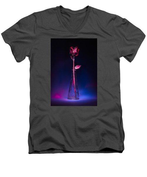 Red Metal Rose Men's V-Neck T-Shirt by Laura Pratt