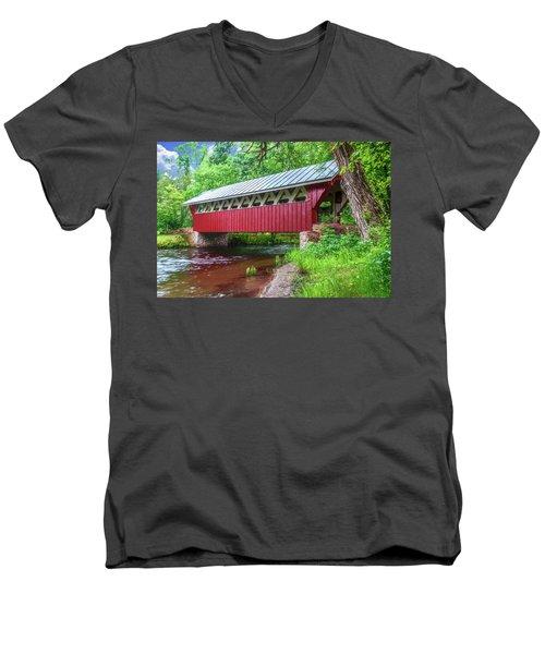 Red Mill Covered Bridge Men's V-Neck T-Shirt by Trey Foerster