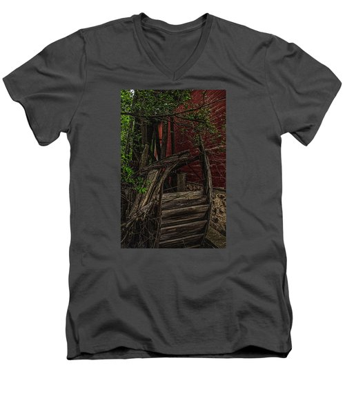 Men's V-Neck T-Shirt featuring the photograph Red Mill Decayed Wheel by Trey Foerster