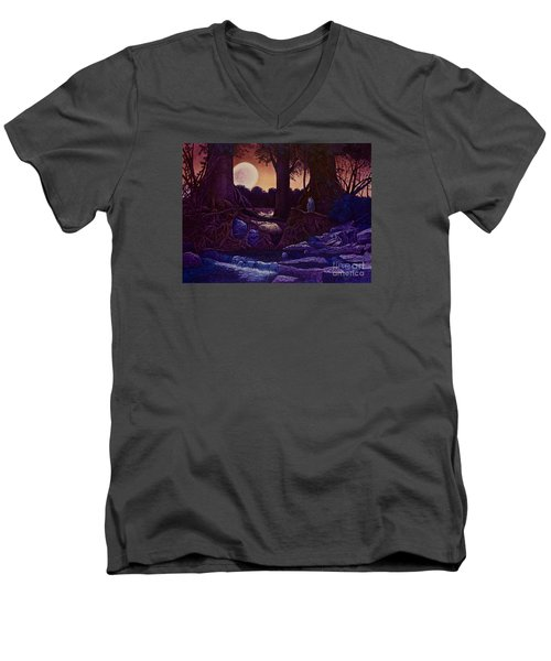 Red Moon Men's V-Neck T-Shirt by Michael Frank