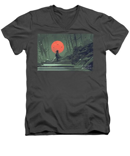 Red Moon Night Men's V-Neck T-Shirt