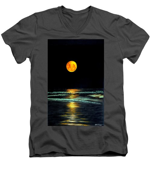 Red Moon Rising Men's V-Neck T-Shirt by Antonia Citrino