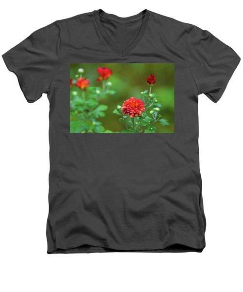 Red Mums Men's V-Neck T-Shirt