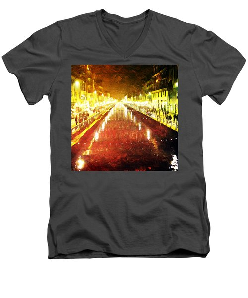 Red Naviglio Men's V-Neck T-Shirt by Andrea Barbieri