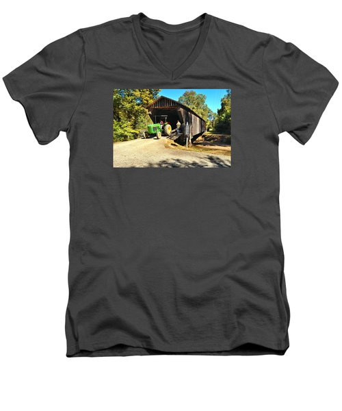 Red Oak Creek Covered Bridge And Tractor Men's V-Neck T-Shirt by James Potts